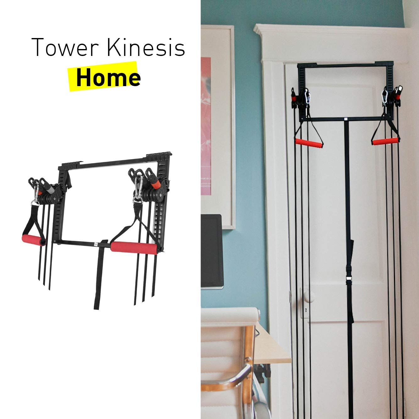 CloverFitness Tower Short Bar Door Pulley Pull-ups, Tensioners, Multiple Exercises, Unisex Adult, Black, M-L