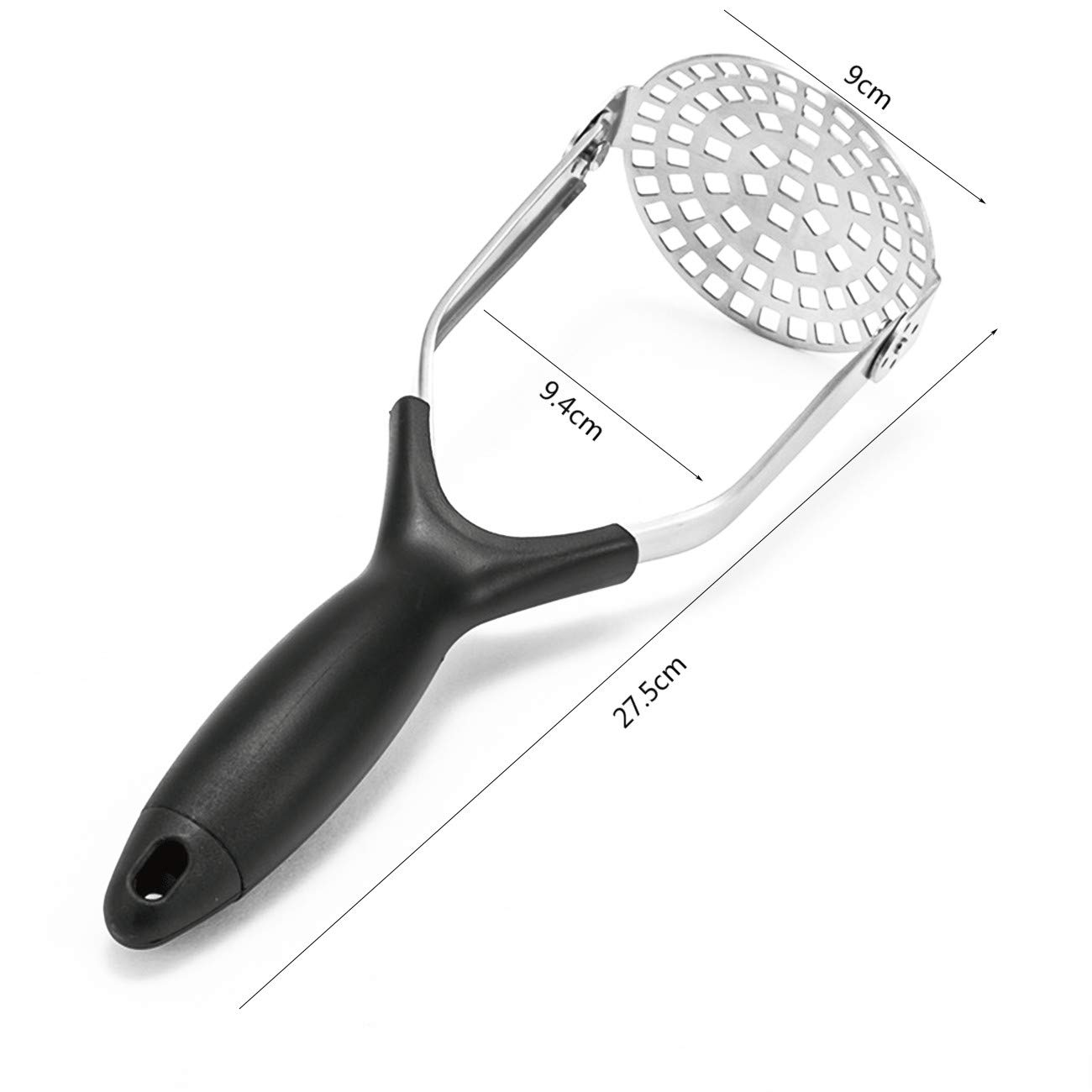 Kakamono Heavy Duty Stainless Steel Potato Masher Fine-grid Mashing Plate for Smooth Mashed Potatoes A Vegetables and Fruits