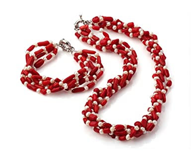 TreasureBay Chunky Multi-stranded Red Coral Beaded Necklace 48cm - Presented in a Beautiful jewellery Gift Box qon5RH