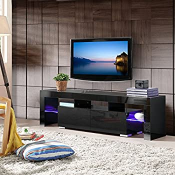 Mecor TV Stand With LED Lights 63 Inch High Gloss Shelves Console Storage Cabinet 2 Drawers For Living Room Black