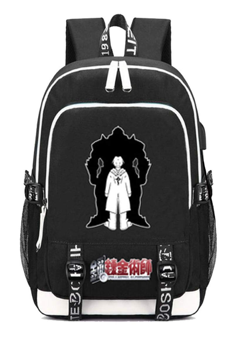 Fullmetal Alchemist  5 Cosstars Fullmetal Alchemist Anime Rucksack Schoolbag Laptop Backpack with USB Charging Port and Headphone Jack  6
