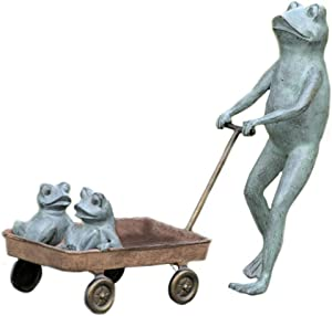 SPI Frog Family with Wagon Planter Aluminum Garden Sculpture