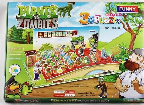 Plants VS Zombies Toy 3D DIY Jigsaw Puzzle Enriches  Educational Toys For Kids