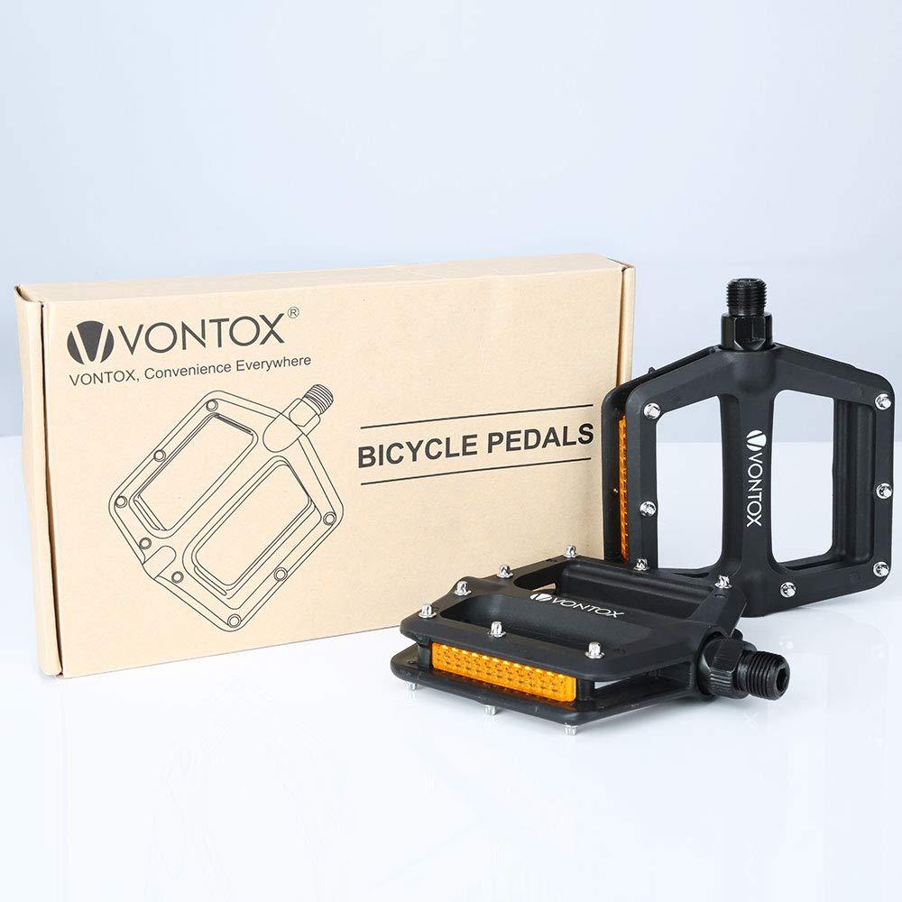 Negro V VONTOX Pedal de Bicicleta Bicicleta de monta/ña Pedal Antideslizante Nylon Fibra Bicicleta de la Ciudad