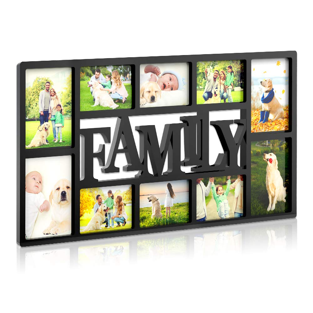 Collage Picture Frame Plastic Love Wall Hanging Photo Frame Rahmen Portable 10 Openings 3D Style Decorative Picture Frame Four 5X7 and Six 4X6 Photos White