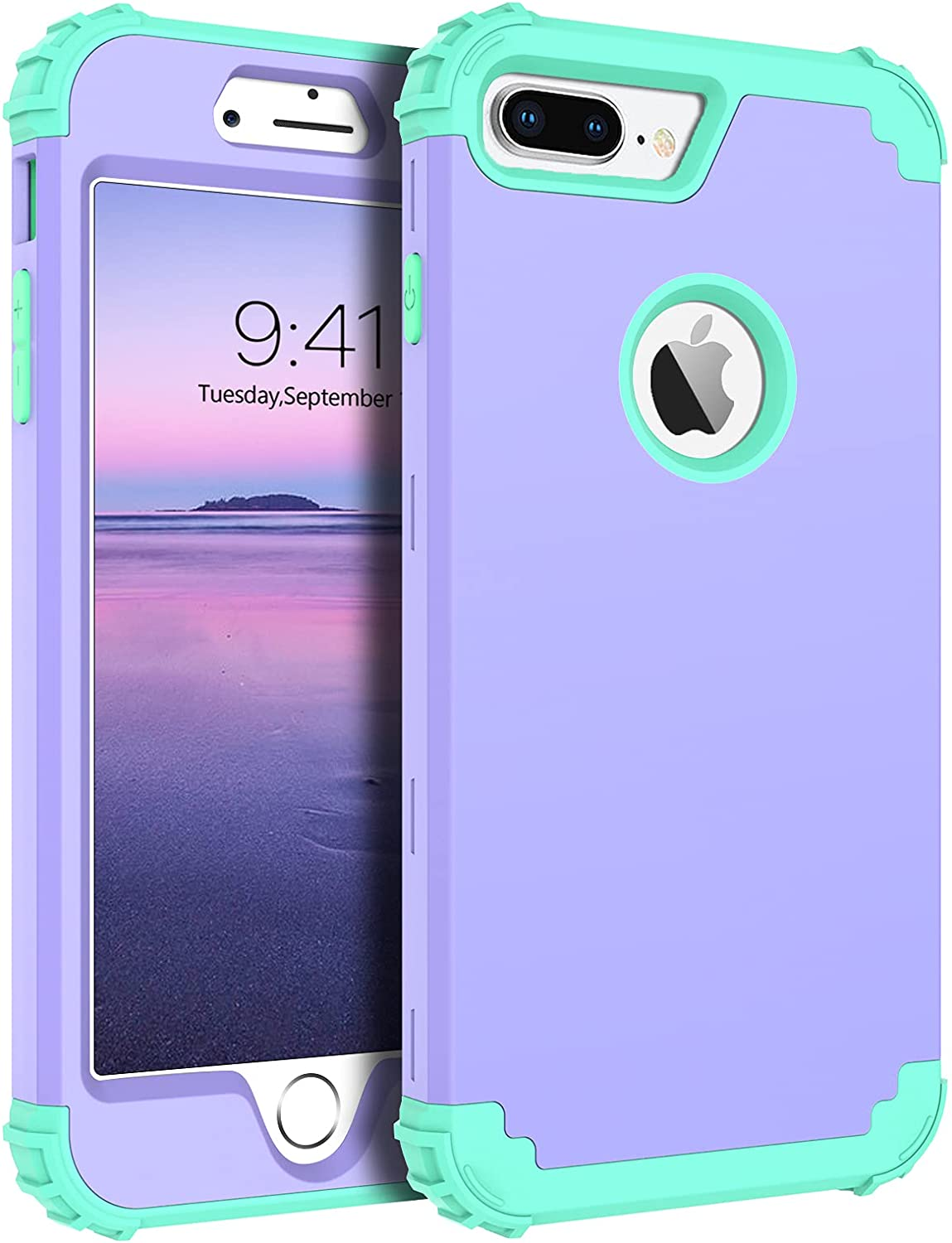 BENTOBEN Case for iPhone 8 Plus, iPhone 7 Plus Case, 3 in 1 Hybrid Hard Plastic Soft Rubber Heavy Duty Rugged Bumper Shockproof Full-Body Protective Phone Cover for iPhone 8 Plus/7 Plus, Purple/Green