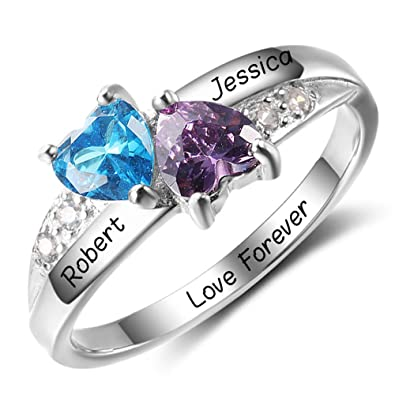Review Diamondido Personalized Simulated Birthstone Promise Names Ring for Girlfriend Cheap Engagement Heart Rings for Her