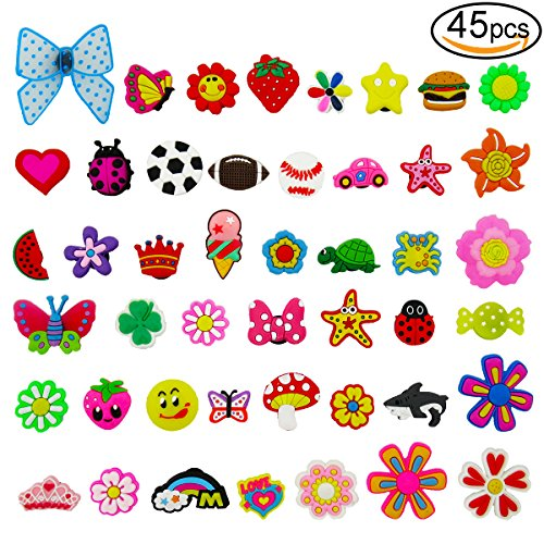 45pcs Cute Shoe Charms for Crocs Shoes Wristband Bracelet Kids Party Birthday Gifts by V-story