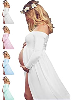 Womens Off Shouler Long Sleeve Maternity Dress for Photography Chiffon Maternity Gown for Photoshoot
