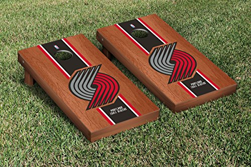 Portland Blazers Trailblazers NBA Basketball Cornhole Game Set Rosewood Stained Stripe Version by Victory Tailgate