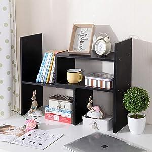 Desktop Bookshelf, Vlikeze Wood Desktop Organizer Adjustable Desk Storage Bookcase Free Style Display Shelf Rack Office Supplies Storage Shelf Book Rack Multipurpose Bookshelf for Office—Black