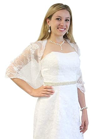 5f8a966fd05 Lace Bridal Bolero Wedding Shawl White at Amazon Women s Clothing store