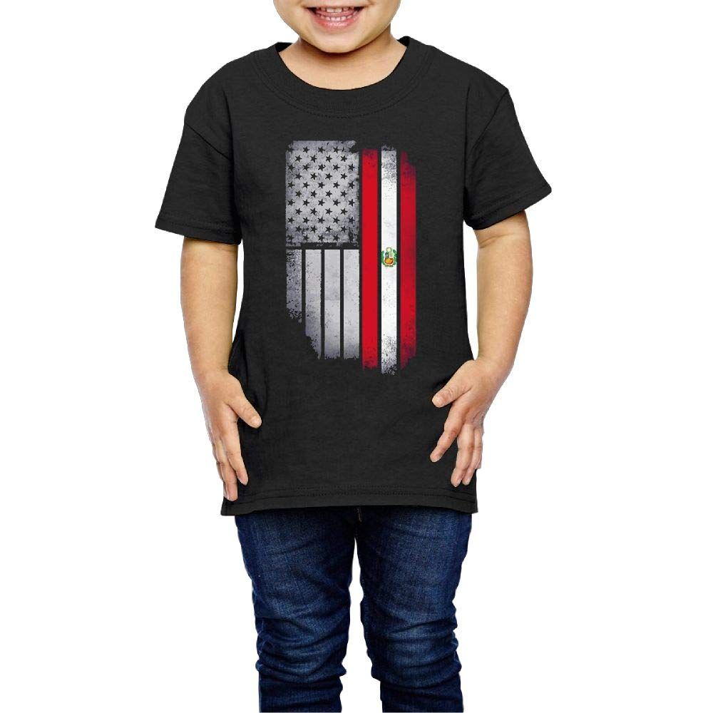 XYMYFC-E USA Peru Flag 2-6 Years Old Children Short-Sleeved Tee Shirts