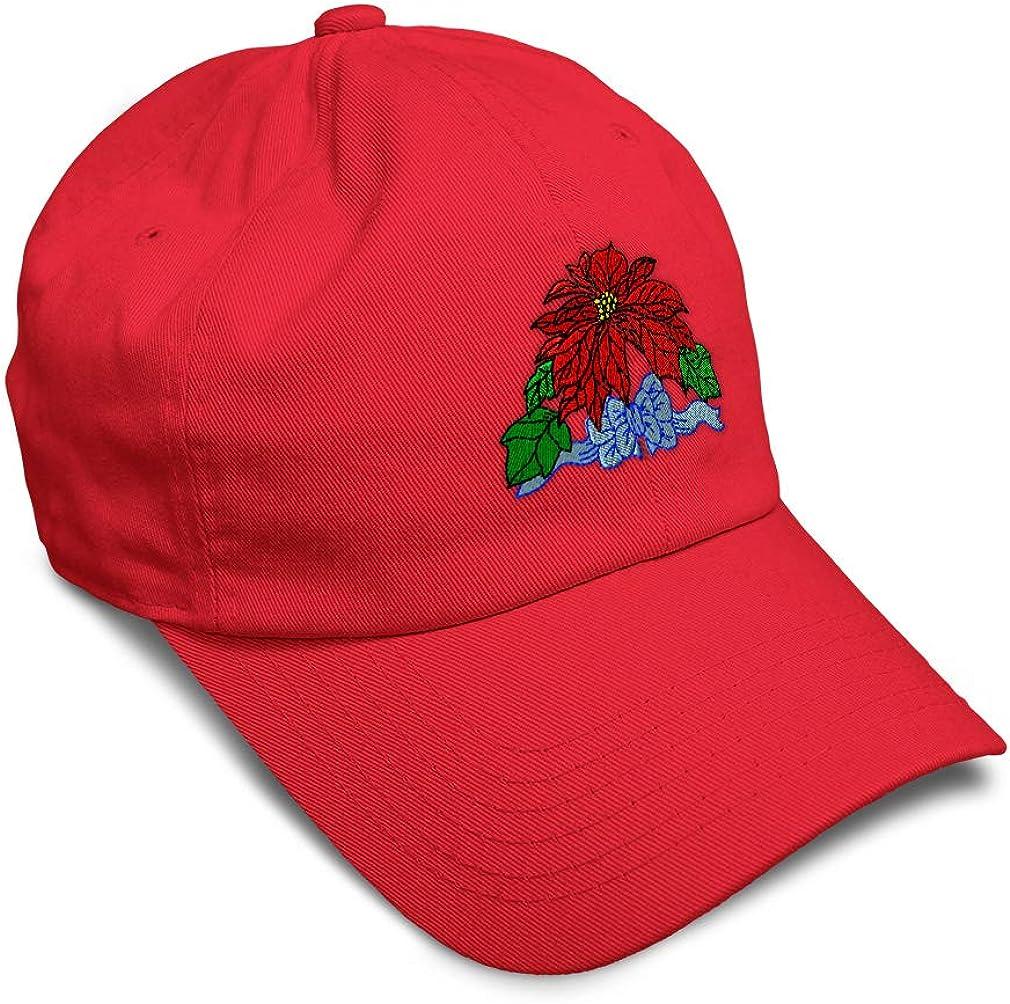 Custom Soft Baseball Cap Christmas Poinsettia Embroidery Twill Cotton