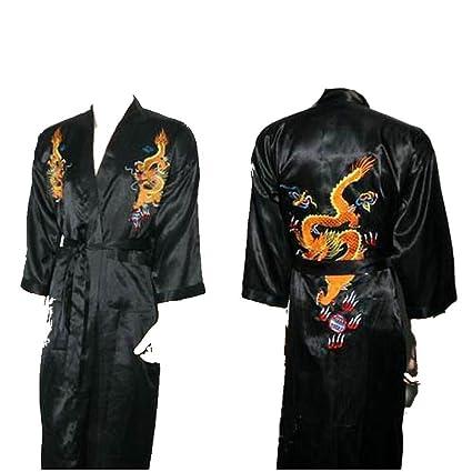 Amazon.com  Shanghai Tone® Dragon Kimono Robe Sleepwear Black One ... 7add97d04