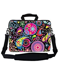 "Meffort Inc 17 17.3 inch Neoprene Laptop Bag Sleeve with Extra Side Pocket, Soft Carrying Handle & Removable Shoulder Strap for 16"" to 17.3"" Size Notebook Computer - Colorful Arts"
