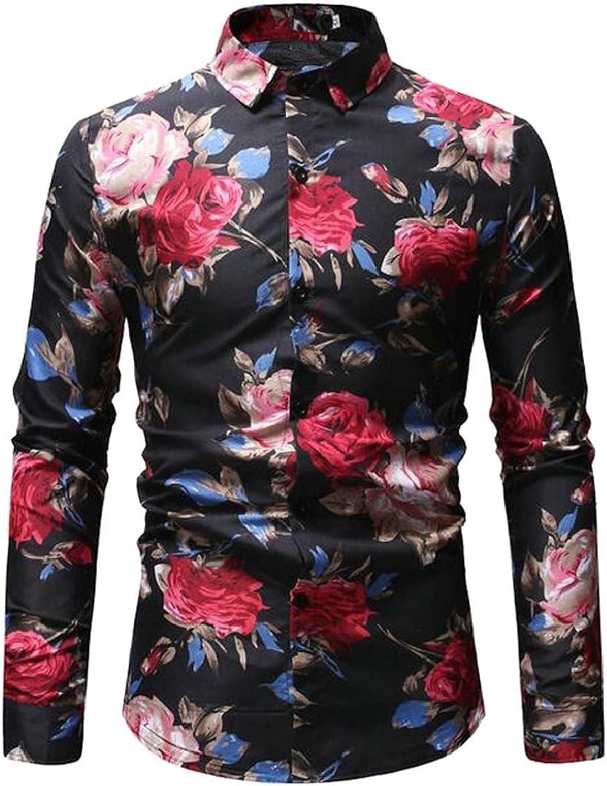 Hajotrawa Men Floral Print Curved Hem Retro Lapel Neck Button Down Shirts