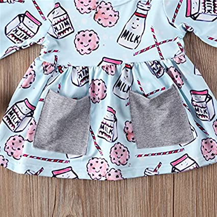 HHmei Milk Print Long Sleeves Headband Dress Set for Newborn Baby Girls