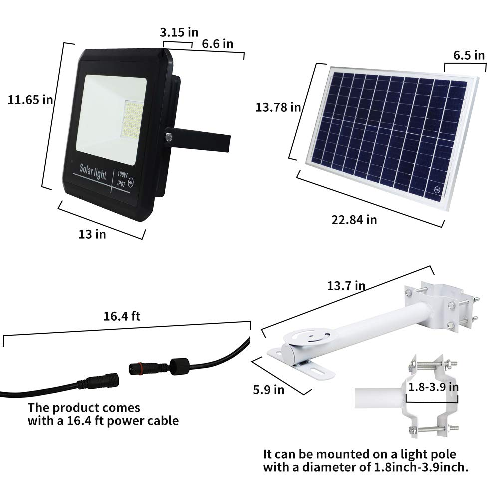 YQL 100W Outdoor LED Solar Street Security Flood Light IP67 Waterproof White 6500K 196 LEDs Auto On Off Dusk to Dawn with Remote and Multi-Functional Bracket for Exterior Roads Yard Garden Pathway