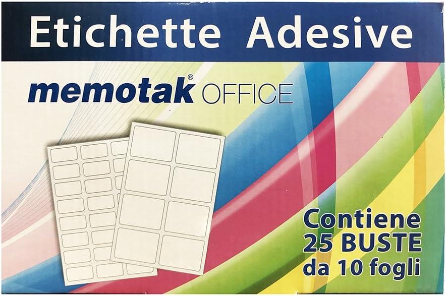 confezione da 25 BUSTE Etichette in busta 10 Fogli 37 x 19 210 pz.