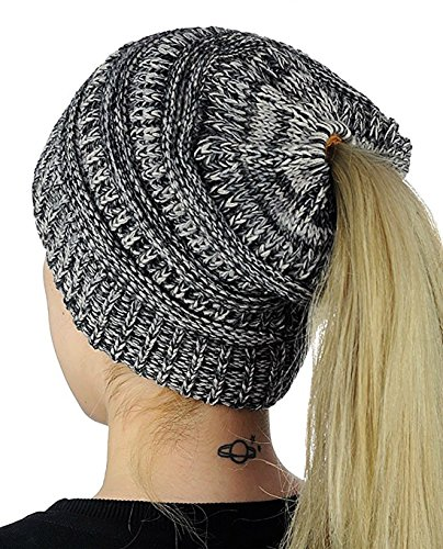 Knitted Cap Pattern (HOSONG Womens Ponytail Cap Warm and Soft Beanie Knitted Hat (One Size, Black+Gray))