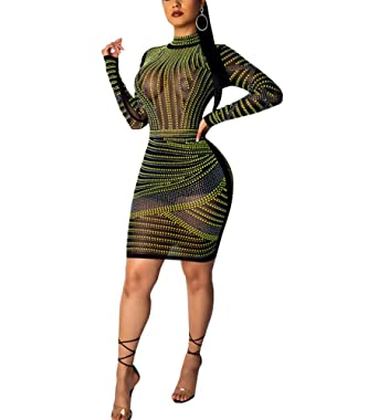 692bd404 IyMoo Women Glitter Bodycon Sequin Dress - V Neck Sexy Sparkly Split  Cocktail Party Dress