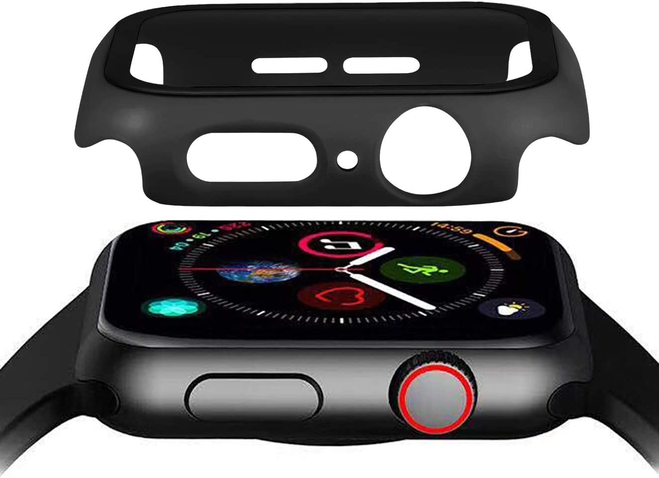 Hontao Matte Hard PC Case Bumper with Tempered Glass Screen Protector Compatible with iWatch 38mm 40mm 42mm 44mm Series 3/2/1 (Black, 38mm)