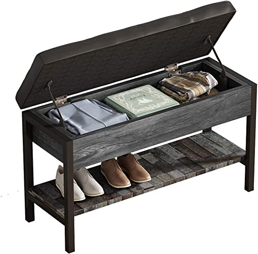 QEEIG Gray Shoe Storage Bench