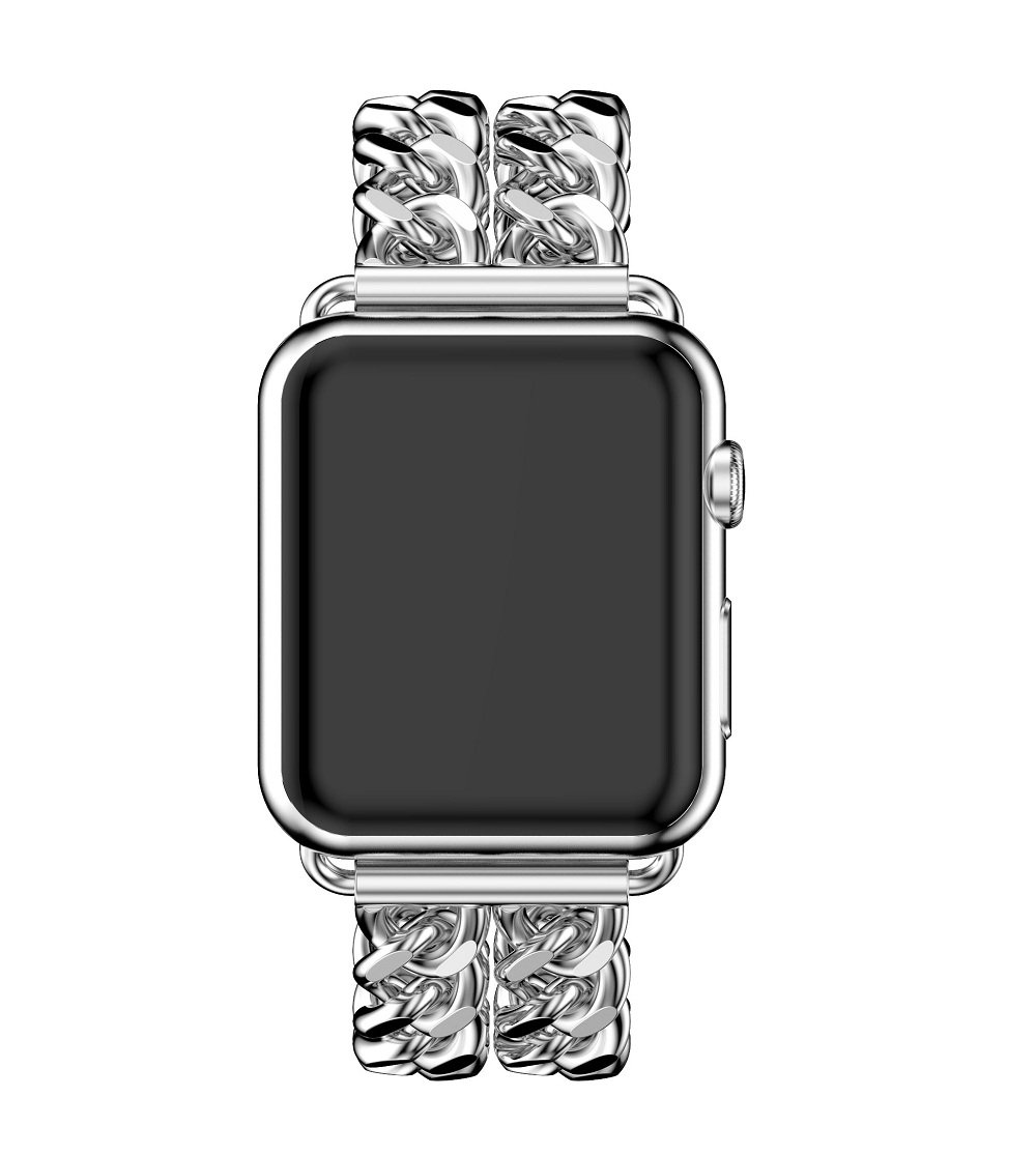 Juzzhou Band For Apple Watch iWatch Sport Edition Replacement Stainless Steel Wriststrap Bracelet Watchband Wristband Wrist Strap Bands With Metal Adapter Buckle For Woman Girl Man Boy Silver 38mm by Juzzhou (Image #3)