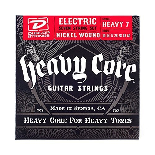 Dunlop DHCN1060 Heavy Core Nickel Wound Guitar Strings, Heavy, .010–.060, 7 Strings/Set (Guitar Core Big Strings)