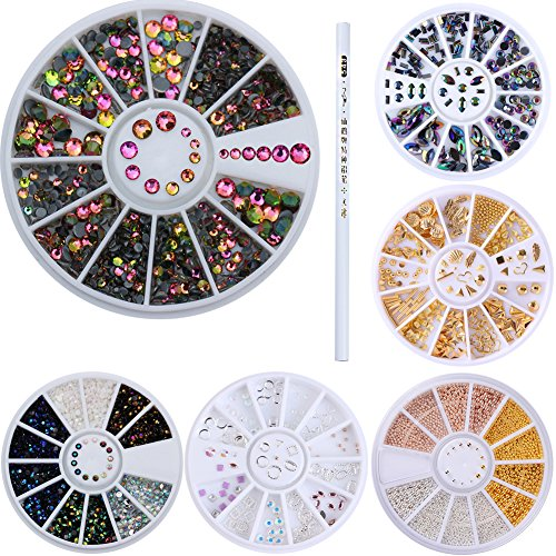 Rhinestone Wheel - NICOLE DIARY Nail Rhinestones Beads Stud Diamond Nail Art Decoration 6 Wheel Set Chameleon Gold Rivets Heart Leaf Shell Triangle Oval Circle Bead Crystal Flat Bottom Rhinestones