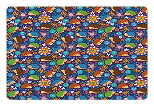 Lunarable Animal Pet Mat for Food and Water, Cartoon Hedgehogs Living in Fantasy Forest Pattern with Flowers Branches Leaves, Non-Slip Rubber Mat for Dogs and Cats, 18