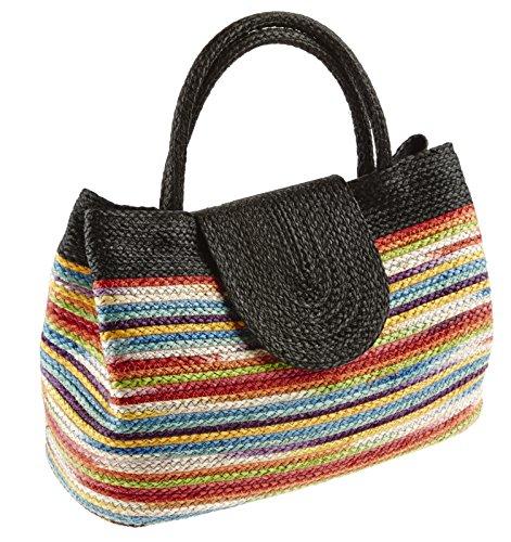 by-Bers elegante Damenhandtasche aus Sisal handgefertigt, farbecht und regenabweisend, beste Qualität Schwarz