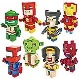 Aurookeb Superheroes Minifigures Granule Blocks Toys Pack of 8