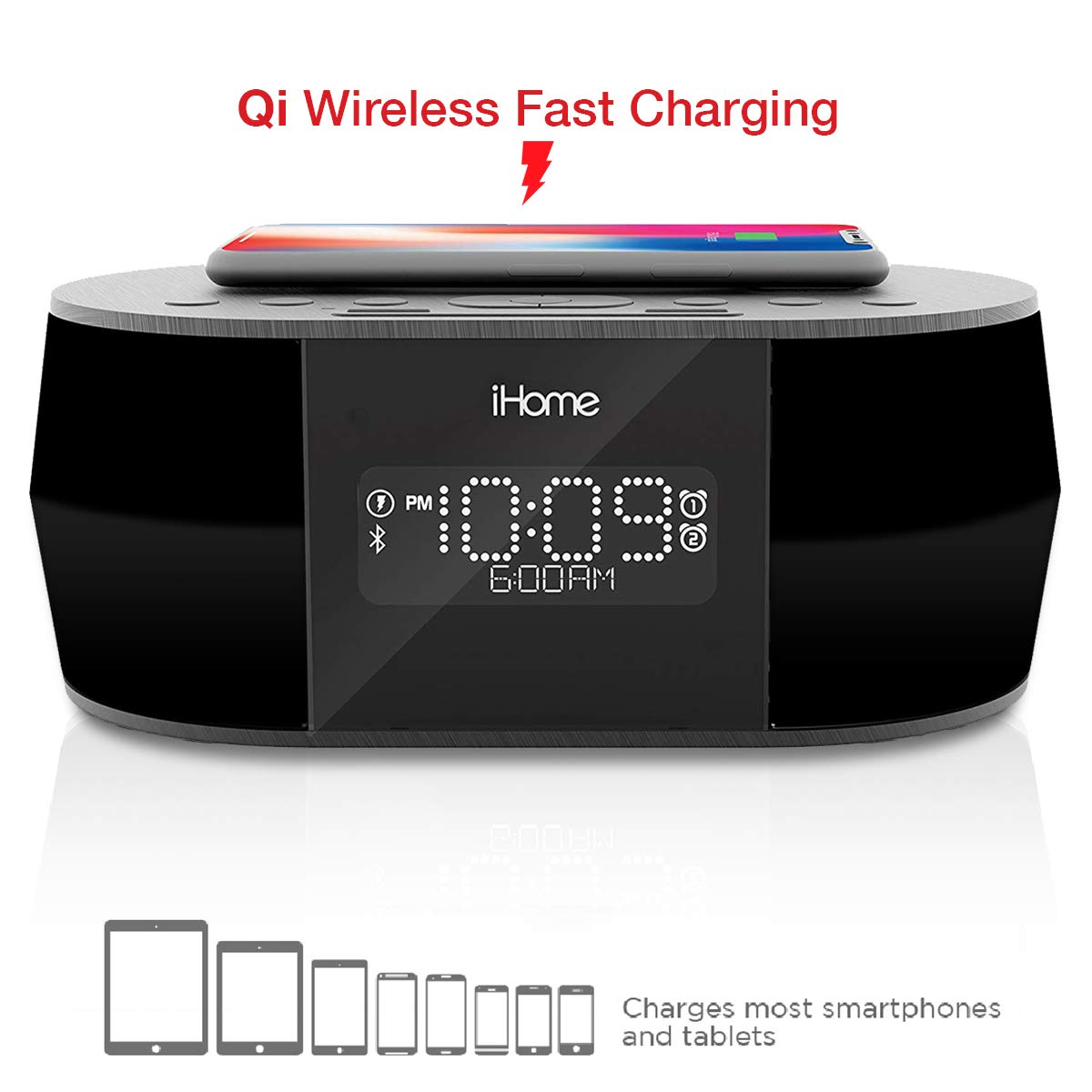 iHome iBTW38 Alarm Clock Bluetooth Stereo with Lightning iPhone Qi Wireless Charging Dock Station for iPhone Xs, XS Max, XR, X, iPhone 8/7/6 Plus USB Port to Charge Any USB Device by iHome