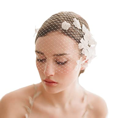 Women Bridal Elegant Birdcage Veil White Flower Mesh Fascinator ...