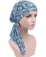 GOODCULLER Women Printing Cancer Chemo Hat Beanie Scarf Turban Head Wrap Cap