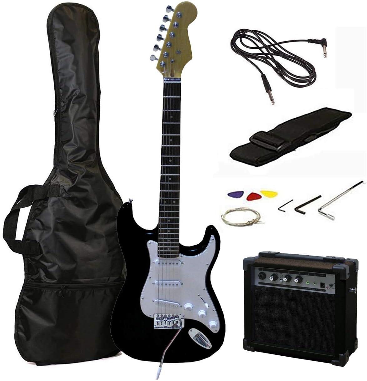 Tamaño RockJam eléctrica llena Superkit guitarra con amplificador de guitarra, secuencias de la guitarra, correa de la guitarra, guitarra bolsa y cable de la guitarra - Negro