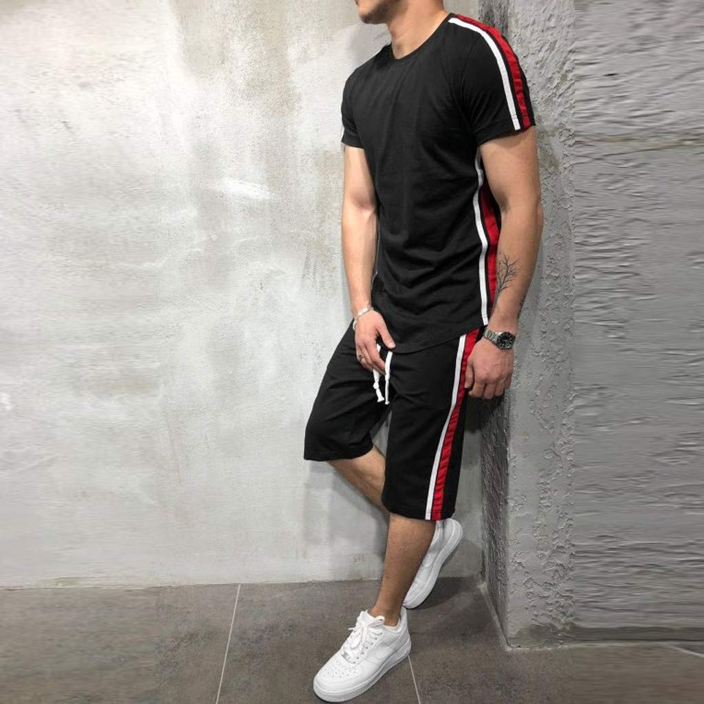 Men's 2 Piece Outfit Sport Set Two-Piece Summer Casual Short Sleeve Tops + Shorts Tracksuit Sports Wear (XL, Black) by baskuwish Men Tracksuit (Image #2)