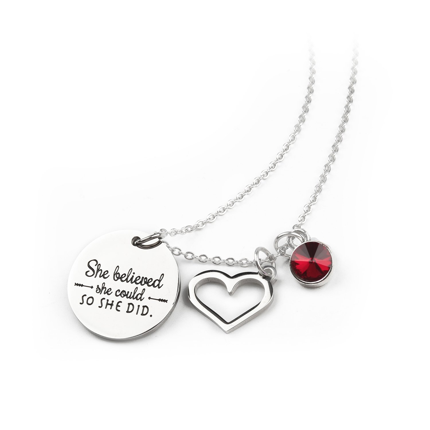Zaoming She Believed She Could So She Did Inspirational Necklace With Birthstone Graduation Gift Best Friend Encouragement Gifts Birthday Gift (07-July Ruby)
