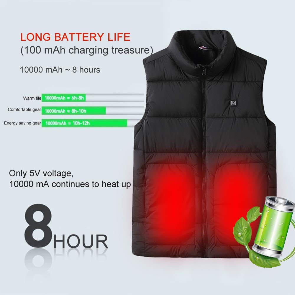 Warm vest USB Charging Vest Electric Warm Clothes with USB Interface 3 Temperature Adjustments Electric Heated Jacket Waistcoat for Outdoor Sports Hiking Winter