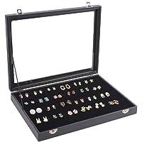 Homanda Black Velvet 120 Holes Jewelry Organizer Tray Showcase with Cover for Stud Earrings