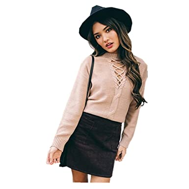 c703cf53ab Women Sexy Collar Deep V Neck Crisscross Lace Up Front Long Sleeve Knit  Pullover Loose Sweater