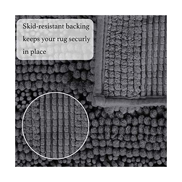 Ultra Soft Absorbent Chenille Bathroom Rugs, Non Slip Thick Floor Mats for Kitchen Entryway, Washable Striped Shag Rugs for Living Room (Set of 2, 20″x32″ & 17″x24″, Gray)