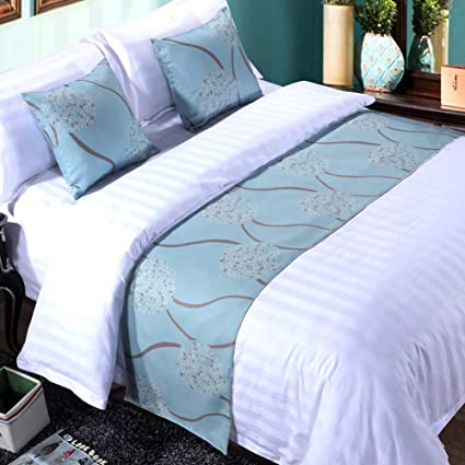 mengersi rippling Bed Runner Scarf Protector slipcover Bed Decorative Scarf for Bedroom Hotel Wedding Room (Queen, Blue)