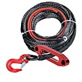 Black Synthetic Winch Rope Cable 5400LBS 22 inch Heat Guard Protective Sleeve w/RED Heavy Duty Half-Linked Hook + Red Hawse Fairlead Recovery for Jeep ATV UTV Ramsey KFI (50ft x 3/16 inch)