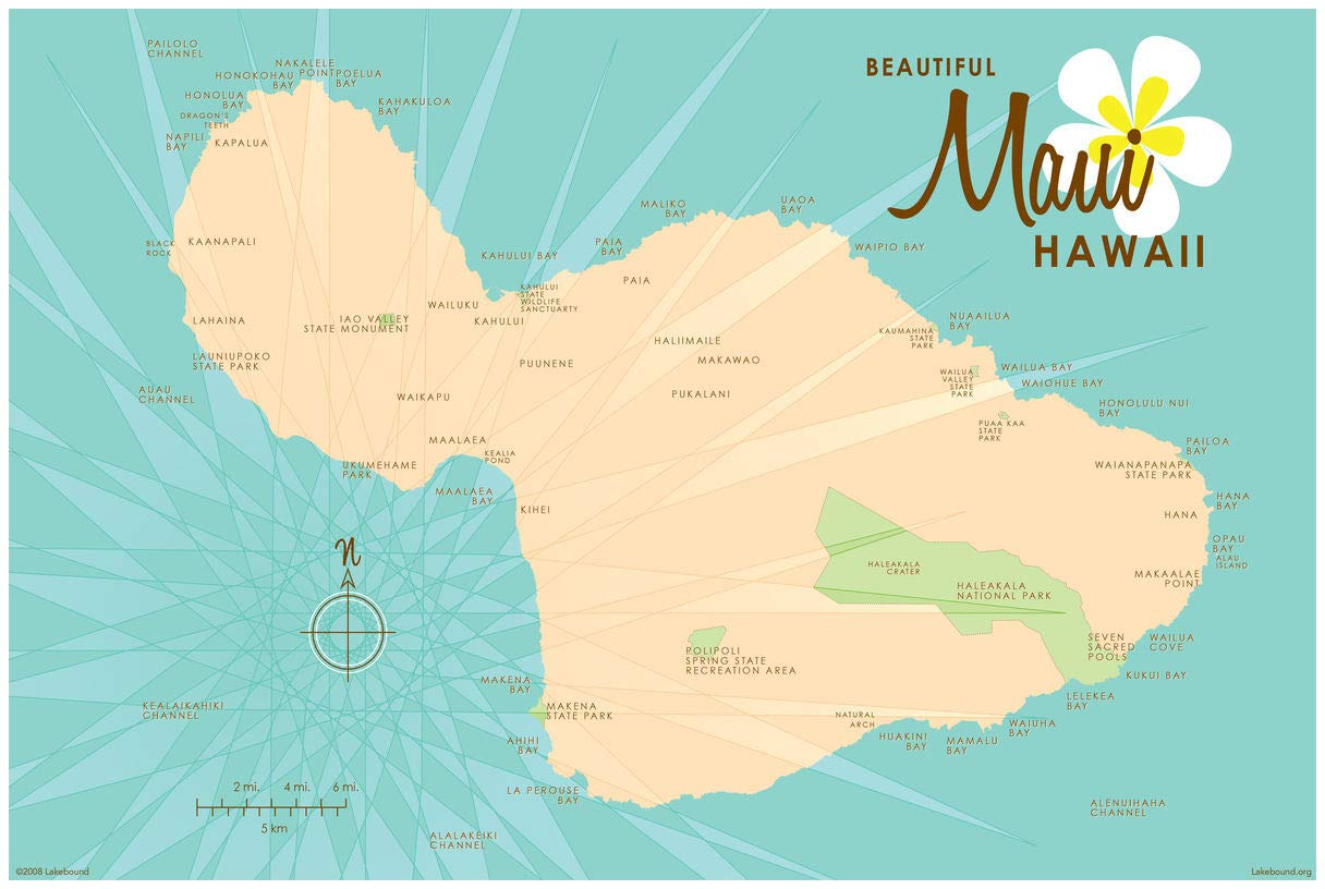 photo about Printable Map of Maui identify : Maui Turquoise Traditional-Design Map Artwork Print