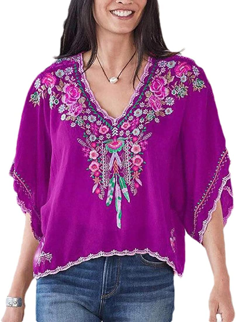 HTOOHTOOH Womens Half Sleeve V-Neck Floral Embroidery Summer T Shirt Tops