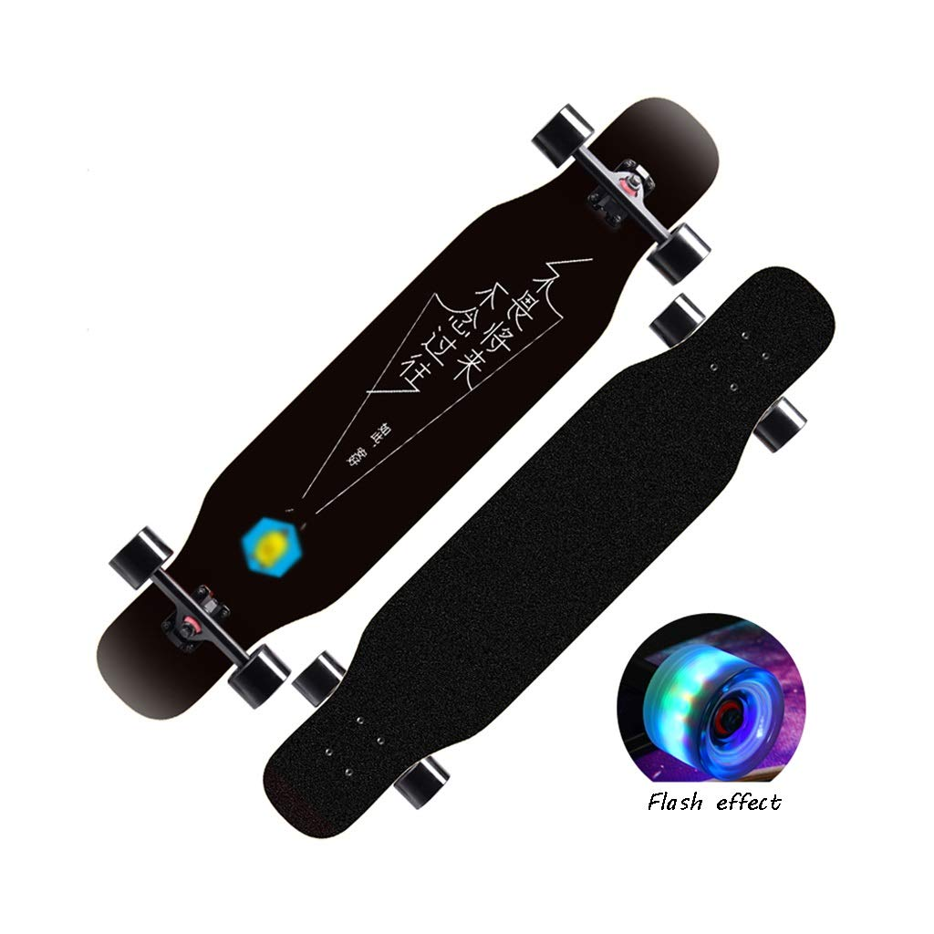 HXGL-Skateboard Skateboard Long Board Beginner Adult Brush Street Dance Board Youth Four-Wheeled Scooter Girls Boys Professional (Color : Black)