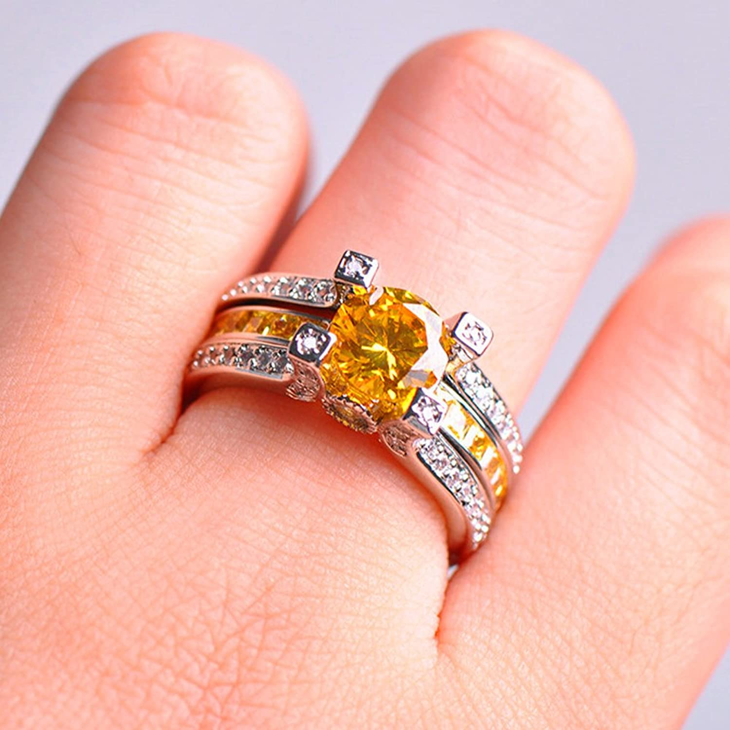 Amazon.com: F&F Jewelry Sterling Silver Yellow Zircon Ring Set ...